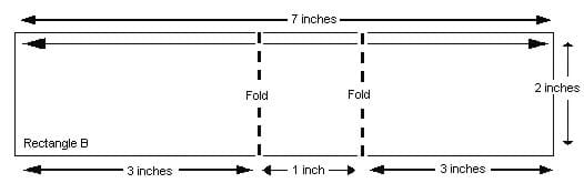 Diagram shows a 7 x 3 inc rectangle with two fold lines at three inches in from each long end.