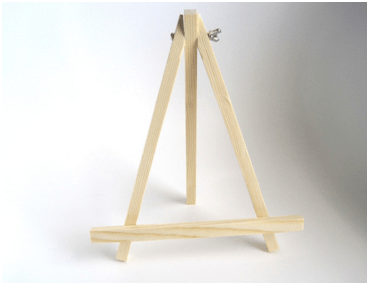 A wooden picture frame stand.