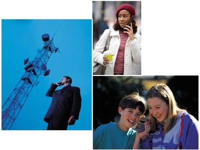 Three photos show people talking on cell phones, one with a tall truss-style tower behind him that has drum- and dish-like attachments.