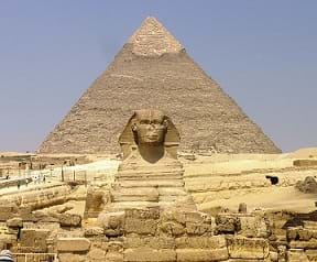 The Great Sphinx with the Pyramid of Khafre in Egypt