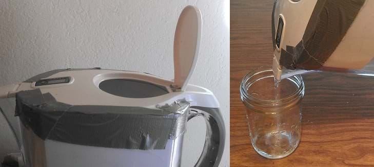 Two photos of a Brita water pitcher with duct tape on the seam where the top piece fits into the larger base. A large lid flap is open, showing where to pour the chlorinated water solution. Filtered water pours out of the spout into a glass jar for water sampling.