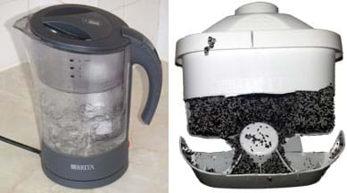 Two photos: A clear plastic water pitcher with a thick top lid. A plastic device cracked open to reveal black and white bits—activated carbon beads and ion exchange resin beads.