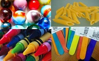 Four photos: Assorted colorful marbles, pile of uncooked penne pasta, assorted colors of crayons, assorted colors of wooden craft sticks.