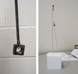 Two photos: (left) A long coiled spring hangs from above, with a heavy metal nut attached to its end. (right) Two tall balsa wood sticks of different lengths with batteries taped to their top ends are pushed into a block of Styrofoam.