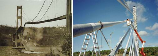 Two photos: (left) A sepia-colored landscape view shows a suspension bridge across a river with the bridge deck swaying and falling apart into the water. (right) A researcher in a bucket truck sets up instrumentation for cable vibration tests on the Penobscot Narrows Bridge in Maine.