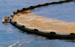 Photo shows a long black plastic floating device making a boundary in which brownish oil on the water surface is kept contained.